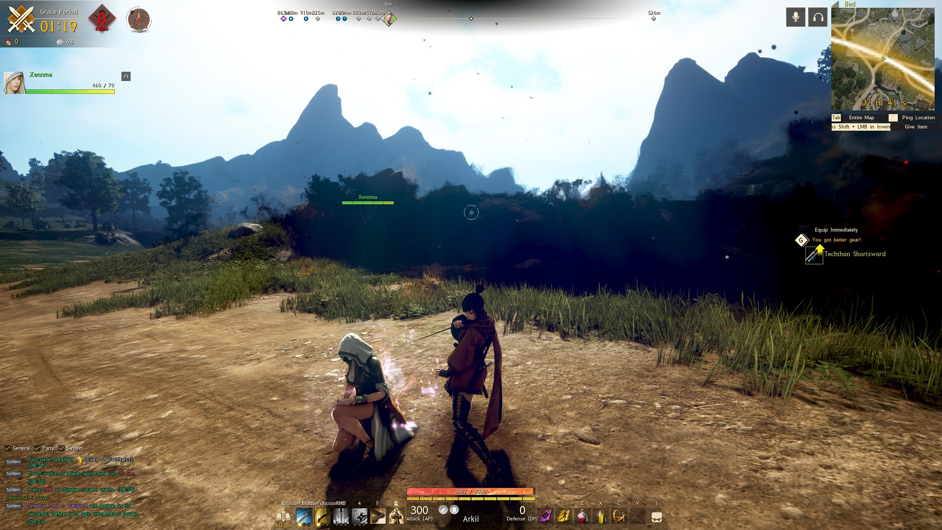 Screenshot from teammate, Arkii, point of view